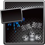 Racing tires and flags on black halftone banner. Black halftone grungy template with a set of tires and racing flags Royalty Free Stock Image
