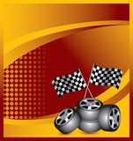 Racing tires and flags on orange halftone template Royalty Free Stock Images
