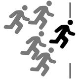 Racing to the finish line. Concept illustration showing five stick figures running in a race Royalty Free Stock Photos