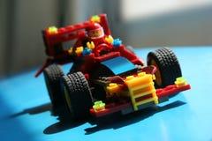 Racing toy car. Toy racing car made of blocks stock photo