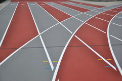 Racing track. Artificial plastic racing track and turning stock photography