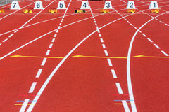 Racing track. Start positions on a racing track for athletics Royalty Free Stock Photo