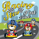 Racing car funny animal cartoon vector illustration vector illustration