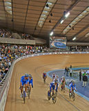 Racing at the Velodrome. Riders from around the world participating at the Track Cycling World Cup at the Velodrome in London Stock Photo