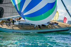 Desaster on a sailboat passing a rounding marg at lake constance royalty free stock image
