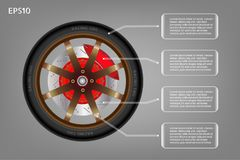 Racing wheel of car and infographic banner. Royalty Free Stock Photos
