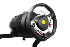 Racing wheel for computer driving simulator Royalty Free Stock Image