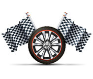 Racing Wheel With Flags. Realistic auto car wheel with flags racing sport concept vector illustration Royalty Free Stock Photography