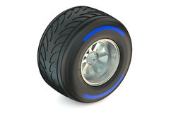 Racing wheel with wet tyre Royalty Free Stock Photography
