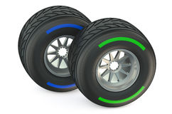 Racing wheels with wet tyres Royalty Free Stock Photos