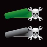 Racing wrenches and skull on tilted banners Royalty Free Stock Photography