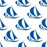 Racing yachts seamless pattern Royalty Free Stock Photo