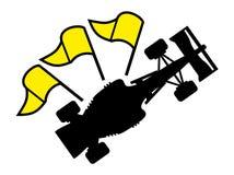 Racing yellow flag symbol Stock Photos