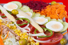 Racion of fresh vegetables and boiled eggs. Racion of fresh vegetables cut into slices and decorated with eggs Stock Images