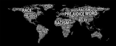 Racism concept on world map. Illustration in word collage stock illustration