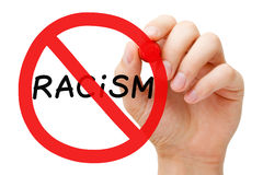 Racism Prohibition Sign Concept. Hand drawing Racism prohibition sign concept with marker on transparent wipe board Royalty Free Stock Photos