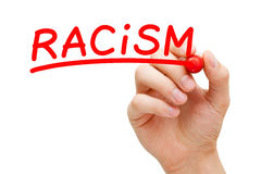 Racism Red Marker Concept. Hand writing Racism with red marker on transparent wipe board Royalty Free Stock Photos