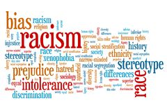 Racism. Social issues and concepts word cloud illustration. Word collage concept stock illustration