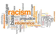 Racism. Social issues and concepts word cloud illustration. Word collage concept royalty free illustration