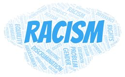 Racism - type of discrimination - word cloud. Wordcloud made with text only vector illustration