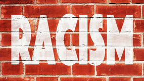Racism Written On A Brick Wall royalty free stock image