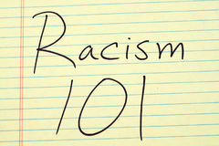 Racism 101 On A Yellow Legal Pad Royalty Free Stock Image
