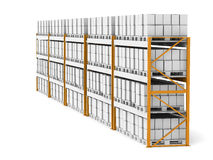 Rack x 5. Shelve row with pallets and boxes Stock Images