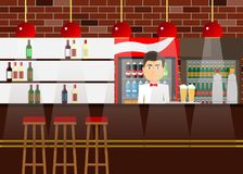 Rack bar with a barman, alcohol, drinks. Bar counter. Royalty Free Stock Photography