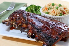 Rack of barbecue ribs Stock Images