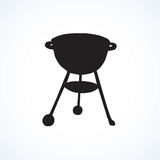 Rack for a barbecue. Vector drawing. Modern new blank circle grate Bbk heater device for steak snack isolated on white backdrop. Dark  hand drawn picture logo Stock Image