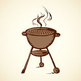 Rack for a barbecue. Vector drawing. Modern new blank circle grate Bbk heater device for steak snack isolated on white backdrop. Outline black hand drawn picture Stock Images