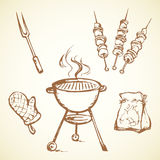 Rack for a barbecue. Vector drawing. Modern new blank circle grate Bbk heater device for steak snack  on white backdrop. Dark  hand drawn picture logo sketch in Stock Photo