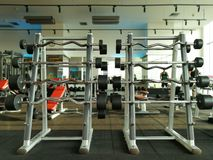 Rack of barbells at  fitness sport club gym. Rack of barbells at fitness sport club gym Stock Images