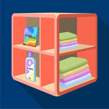 A rack in the bathroom for laundry and detergents. Furniture single icon in flat style Isometric vector symbol stock Stock Images