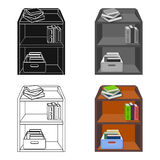 A rack with books and documents. Office furniture single icon in cartoon style Isometric vector symbol stock Stock Photo