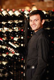 Rack of bottles of wine Stock Image