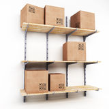 Rack with cardboard boxes Stock Images