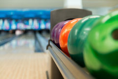 Rack Of Colorful Balls At A Bowling Alley Stock Images