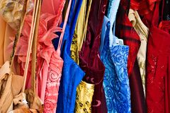 Rack of colorful dresses Royalty Free Stock Photo