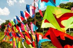 Rack of colorful kites Stock Photo