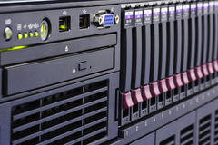 Rack of computer. Network equipment Stock Photo