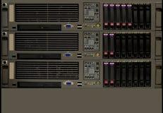 Rack computer servers. Rack with tree computer servers stock image