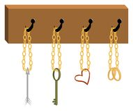 Rack with Cupid's tools. This is wall rack with Cupid's tools: arrow, key (from heart), heart and rings Stock Image