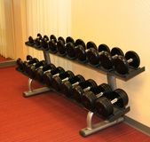 Rack of Dumbbells in a well decorated gym. Rack of Dumbbells in a well decorated and family friendly gym Royalty Free Stock Photos