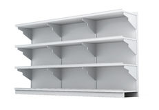 Rack with empty shelves  on white background. 3d renderi Stock Photography
