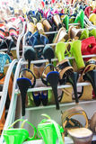 Rack with female shoes Royalty Free Stock Photography
