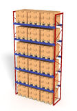 Rack filled with boxes Stock Photography