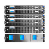 Rack, of five Servers isolated Royalty Free Stock Photo