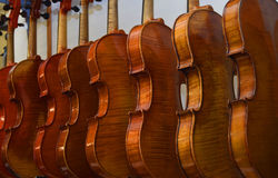 Rack of hanging violins 3 royalty free stock photography