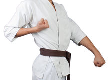 Rack karate. Young soldier in front of karate Stock Image